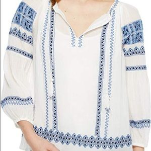 JOIE Blue and White Embroidered Blouse Sz XS